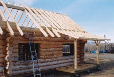 Building our log home working process and steps 6 for Log cabin roof construction