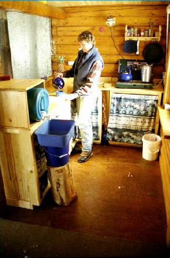 Kluane cabin kitchen